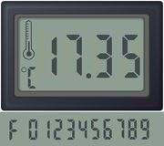 Reloj de reloj de la cuenta de Digitaces, con diversos números Foto de archivo libre de regalías