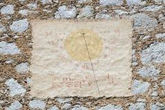 Reloj de sol, catedral de San Nicolás en Novo Mesto, Eslovenia fotos de archivo libres de regalías