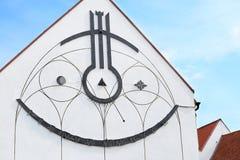 Reloj de sol en el edificio Fotografía de archivo