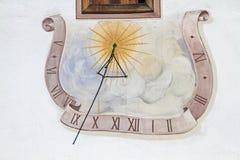 Reloj de sol en el Tirol Fotografía de archivo