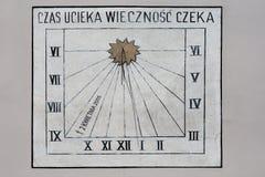 Reloj de sol en Wadowice Imagen de archivo