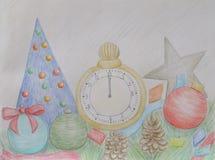 Reloj del Año Nuevo con confeti Fotografía de archivo libre de regalías