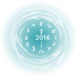 Reloj del Año Nuevo con símbolos del Año Nuevo Fotografía de archivo