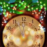 Reloj del Año Nuevo en el fondo de madera Fotografía de archivo