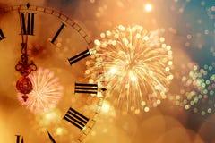 Reloj del ` de doce o - víspera del ` s del Año Nuevo Foto de archivo libre de regalías