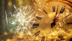Reloj del ` de doce o - víspera del ` s del Año Nuevo Foto de archivo