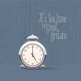 reloj del ` de 5 o para el ejemplo del vector del tiempo del té stock de ilustración