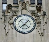 Reloj del edificio de la junta de comercio de Chicago fotos de archivo