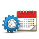 Reloj del engranaje del calendario Foto de archivo libre de regalías