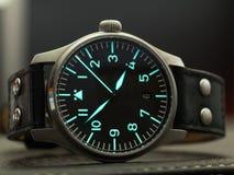 Reloj del flieger de Stowa con la correa de cuero Imagen de archivo