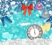 Reloj del fondo del Año Nuevo con el árbol de pino de los vidrios del champán Imagen de archivo