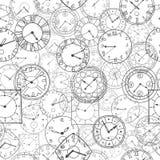 Reloj del garabato del vector, fondo inconsútil Fotos de archivo libres de regalías