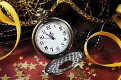 Reloj del mando del bolsillo de la Feliz Año Nuevo Fotografía de archivo