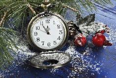 Reloj del mando del bolsillo de la Feliz Año Nuevo Imagen de archivo