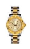 Reloj del oro aislado en blanco con la trayectoria de recortes Imagenes de archivo