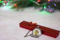 Reloj del ` s del Año Nuevo La Navidad Fotografía de archivo