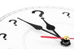 Reloj del signo de interrogación Imagen de archivo libre de regalías