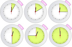 Reloj del temporizador con 5, 10, 15, 30, 45, 60 muestras mínimas ilustración del vector