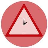 Reloj del triángulo en el fondo redondo rojo Imagen de archivo