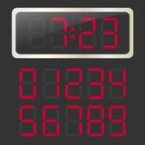 Reloj del vector con números digitales que brillan intensamente del rojo imágenes de archivo libres de regalías