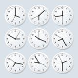 Reloj detallado realista 3d fijado con momento diferente Vector stock de ilustración