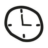 Reloj dibujado mano Fotografía de archivo libre de regalías