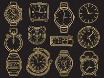 Reloj dibujado mano, relojes del bosquejo del garabato libre illustration