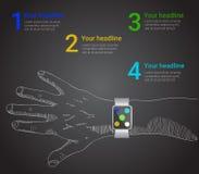 Reloj elegante infographic en estilo del vector Foto de archivo libre de regalías
