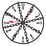 Reloj en cadenas Fotografía de archivo libre de regalías