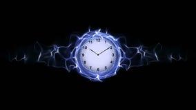 Reloj en fibras, concepto del tiempo, gráficos de ordenador Imagenes de archivo