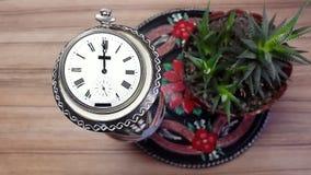 Reloj en flor contra la perspectiva de una pared de madera almacen de metraje de vídeo