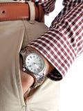 Reloj en la mano de los hombres Foto de archivo