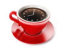 Reloj en la taza del coffe Imagen de archivo libre de regalías