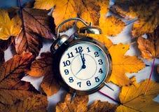 Reloj en las hojas de arce del otoño fotografía de archivo libre de regalías
