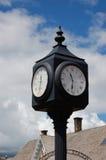 Reloj en una estación de carril Fotografía de archivo libre de regalías