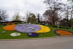 Reloj famoso de la flor en Ginebra Foto de archivo