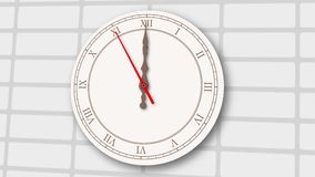 Reloj gris claro animado en fondo de la pared de ladrillo stock de ilustración