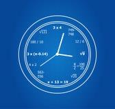 Reloj matemático de las ecuaciones Imagenes de archivo