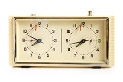 Reloj mecánico viejo del ajedrez Imagen de archivo