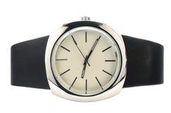 Reloj minimalista con una correa de cuero Fotos de archivo