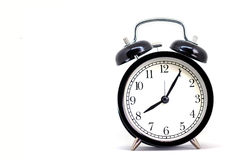 Reloj negro del vintage, ocho horas 5 minutos Imagen de archivo libre de regalías