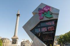 Reloj oficial de la cuenta descendiente para el olímpico y el P Foto de archivo libre de regalías