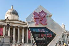 Reloj oficial de la cuenta descendiente para el olímpico y el P Fotos de archivo