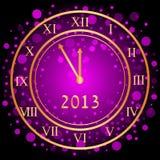 Reloj púrpura del Año Nuevo Imágenes de archivo libres de regalías