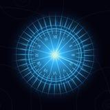 Reloj que brilla intensamente azul en fondo azul marino ilustración del vector