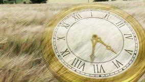 Reloj que hace tictac sobre hierba que sopla del viento