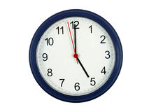 Reloj que muestra las 5 Fotos de archivo libres de regalías
