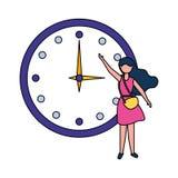 Reloj redondo grande de la demostraci?n de la mujer imagenes de archivo