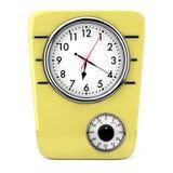 Reloj retro de la cocina del estilo con el contador de tiempo representación 3d fotografía de archivo libre de regalías