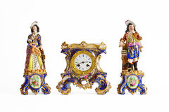 Reloj rococó de la porcelana de Meissen Imágenes de archivo libres de regalías